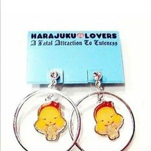 Harajuku Lovers Hoop Earrings Blond Girl Character